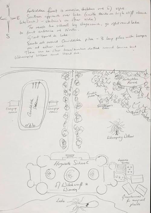 J.K. ローリングによるホグワーツのスケッチ